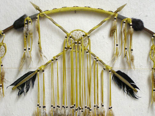 Native American Navajo Made Bow with Dreamcatchers