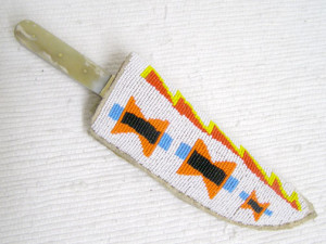 Algonquin Made Old Lakota Designed Beaded Knife Sheath