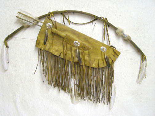 Navajo Made Warrior Bow and Quiver with Knife