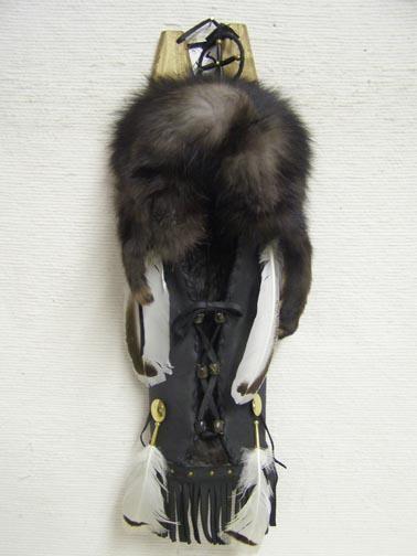 Native American Cherokee Made Silver-tipped Fox Cradleboard