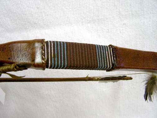 Native American Navajo Made Rawhide Bow and Crossed Arrows