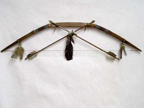 Native American Navajo Made Rawhide Bow and Arrow