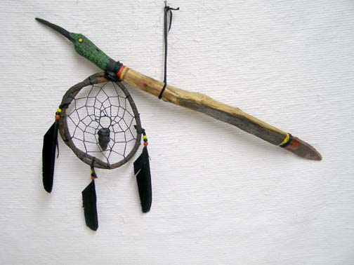 Apache Made Dreamcatcher Coup Stick with Hummingbird