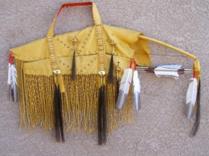 Tigua Made Bow Case with Bow and Arrows