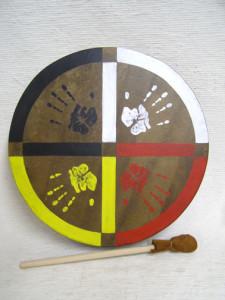 Cherokee Made Painted Buffalo Drum