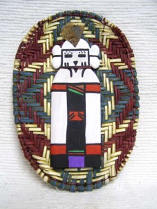 Hopi Made Wicker Plaque with Snow Maiden