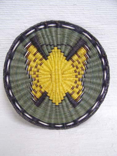Hopi Made Wicker Plaque with Butterfly