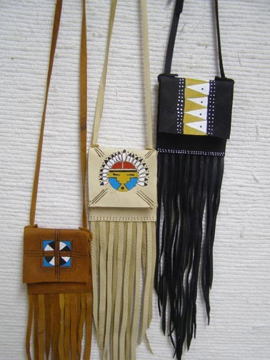 Cherokee Made Small Medicine Bag with Flap and Fringe