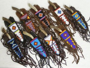 Algonquin Made Beaded Flat Fringed Knife Sheaths