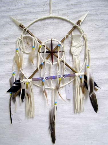 Navajo Made Small Ceremonial Peace Shield with Pipe