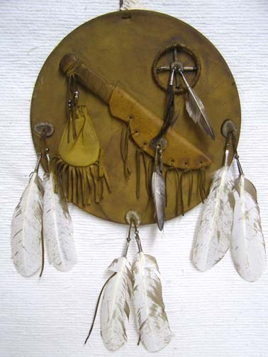 Navajo Made Small Warrior Shield with Knife