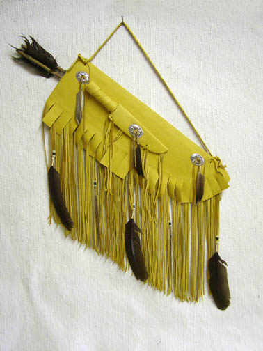 Navajo Made Flat Leather Quiver with Knife and Arrows