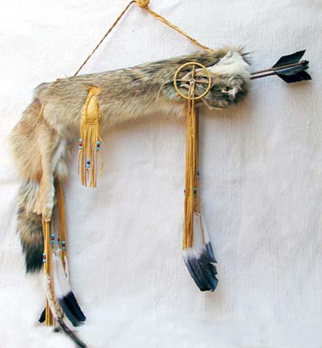 Navajo Made Coyote Quiver with Medicine Wheel and Arrows