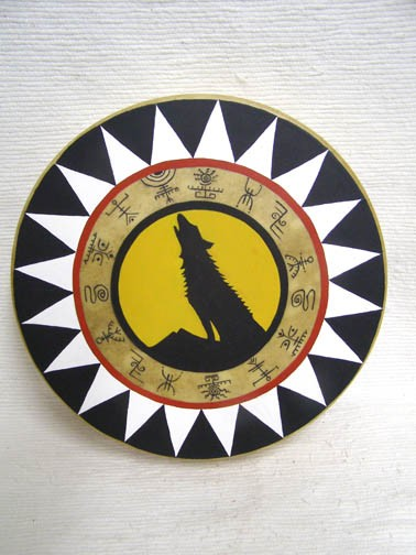 Cherokee Made Painted Drum with Coyote