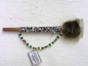 Creek Made Small Beaded Ceremonial Horn Pipe