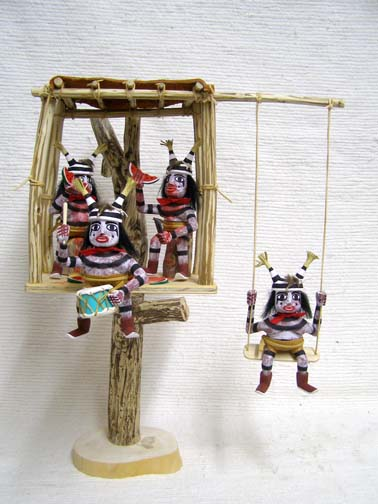 Navajo Made Clown Kachina Dolls in a Treehouse