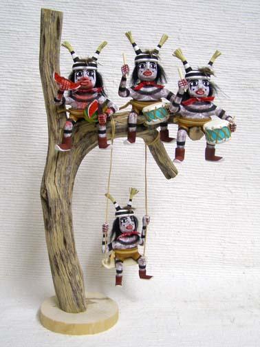 Navajo Made Clown Kachina Dolls up a Tree