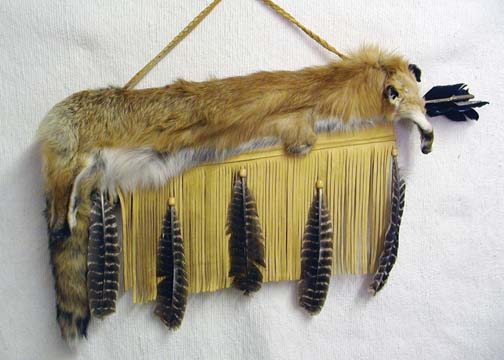 Cherokee Made Flat Full Red Fox Quiver with Arrows