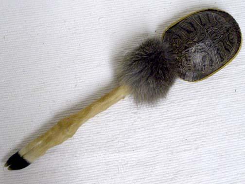 Native American Cherokee Made Deer Leg Rattle