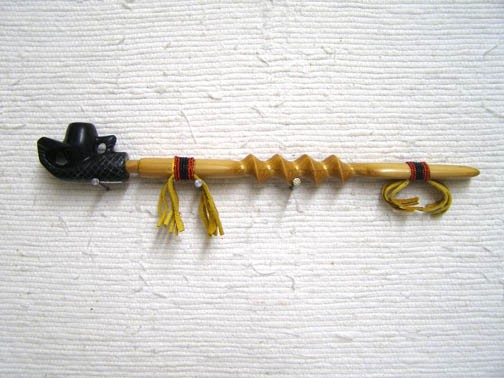 Black Pipestone Eagle Claw Carved Pipe