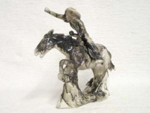Ceramic Horsehair Pony Express Rider