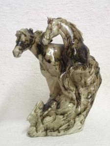 Ceramic Horsehair Mustangs