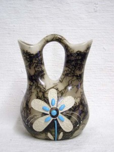 Horsehair Wedding Vase with Turquoise