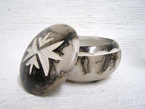 Ceramic Horsehair Small Round Jewelry Box
