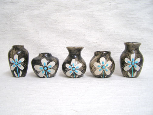 Ceramic Horsehair Small Pots with Turquoise