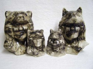 Ceramic Horsehair Chief's Head with Wolf or Bear