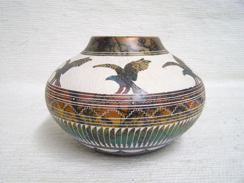 Navajo Fine Etched Horsehair Pot with Eagles