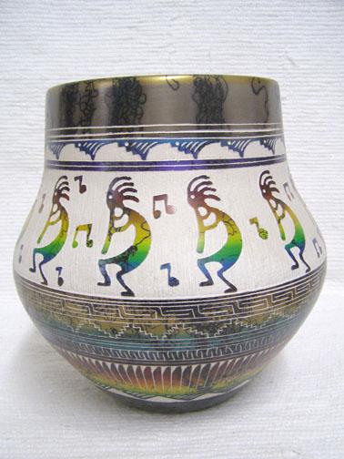 Navajo Fine Etched Horsehair Pot with Kokopelli