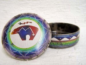 Navajo Made Ceramic Fine Etched Horsehair Jewelry Box with Spirit Bear