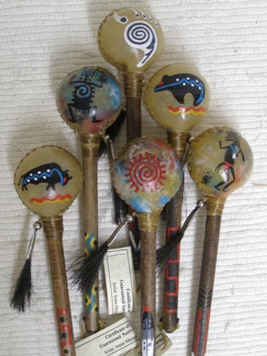 Navajo Made Small Painted Rawhide Rattles