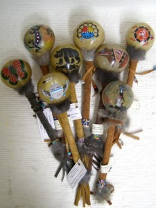Navajo Made Medium Painted Rawhide Rattles