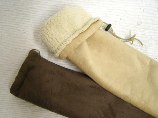 Suede Leather Flute Bag with Shearling Lining