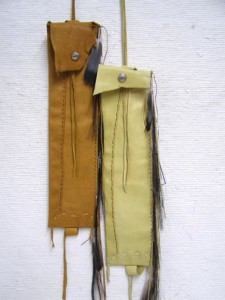 Tigua Made Leather Flute Bag with Horsehair