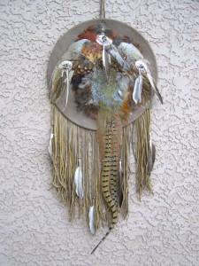 Navajo Ceremonial Shield w/Full Pheasant