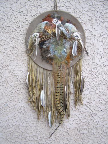 Navajo Ceremonial Shield w/Full Pheasant