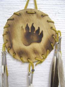 Native American Navajo Made Wood Burned Shields-Bear Paw