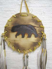 Native American Navajo Made Wood Burned Shield - Bear