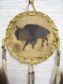 Native American Navajo Made Wood Burned Shields-Buffalo