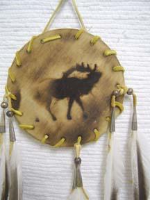 Native American Navajo Made Wood Burned Shield - Elk