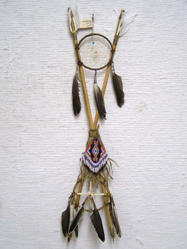 Native American Navajo Made 4-Way Crossed Arrows with Beaded Pouch