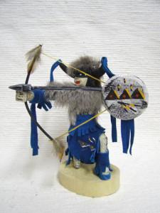 Navajo Made Kneeling Buffalo Warrior Kachina Doll