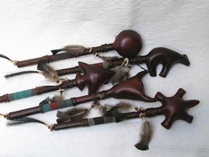 Navajo Made Ceremonial Rawhide Rattles