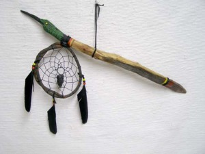 Apache Dreamcatcher Coup Stick w/Hummingbird