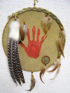 Navajo Made Ceremonial Shield with Handprint