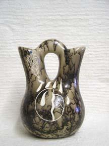 Native American Medium Ceramic Horsehair Wedding Vase Pottery