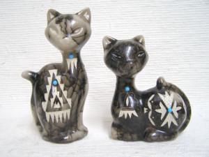 Ceramic Horsehair Mod Cat Figures
